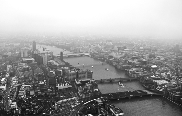 The View from the Shard in the snow, London