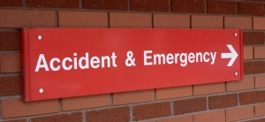 Accident and emergency sign at hospital