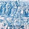 Blue and white azulenjo tiles in Porto, Portugal