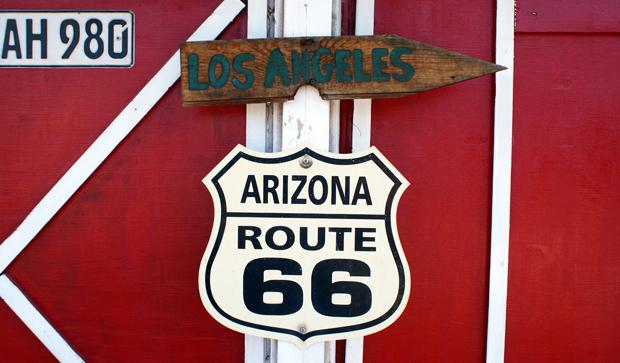 Route 66 sign, Arizona, USA road trip