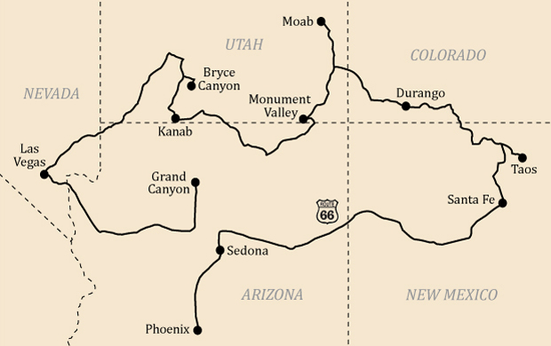 Southwest USA road trip map