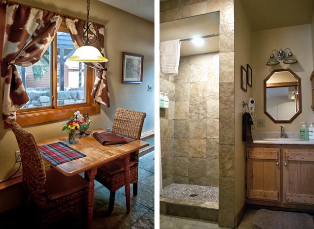 Kitchen area and bathroom at O Bar O Ba Cabins near Durango, Colorado