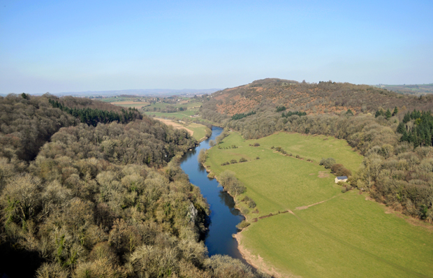Symonds Yat viewpoint over the Wye Valley in Herefordshire