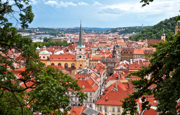 The red roofed building of Prague