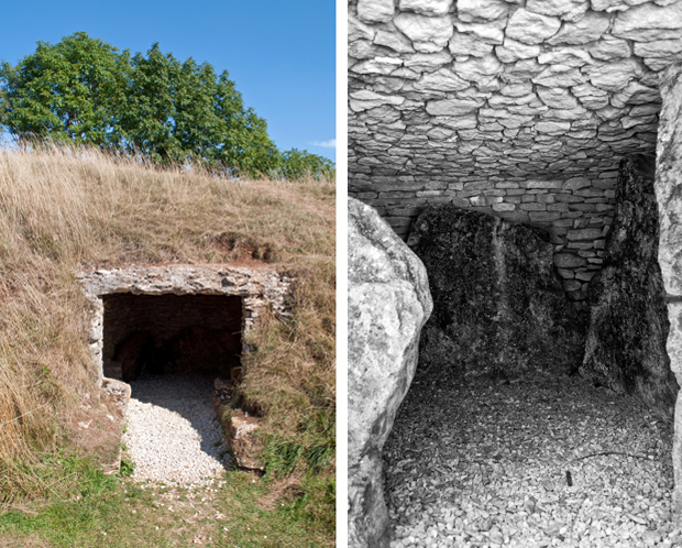 Belas Knap Long Barrow Neolithic burial chamber Winchcombe Gloucestershire