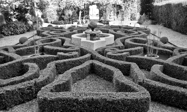 Maze in gardens at Sudeley Castle in Gloucestershire