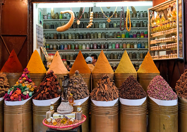 Spices in a market in Marrakech, Morocco
