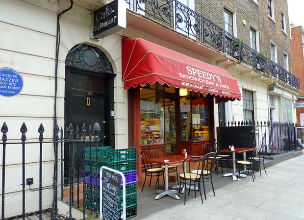 Speedys Cafe and 221B Baker Street (or so it says) – photo credit givingnot@rocktmail.com