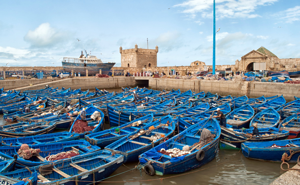 Boats in Essaouira harbour, Morocco