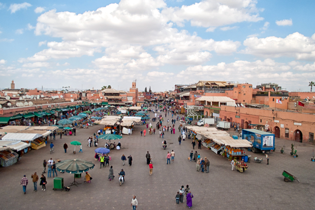 The Djemaa El Fna main square in Marrakech, Morocco