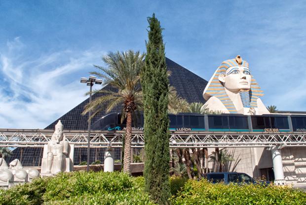 Monorail outside the Luxor casino, Las Vegas Nevada USA
