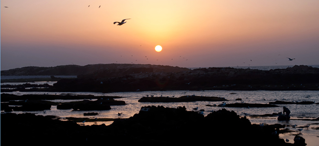 Sunset over Essaouira on the coast of Morocco