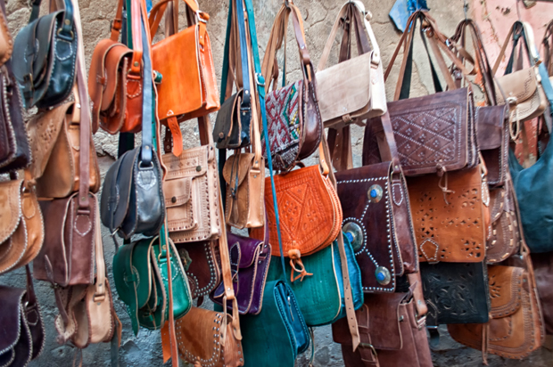 Leather bags in the medina in Marrakech, Morocco