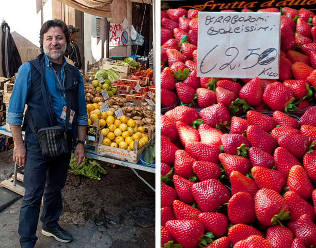 Fruit and vegetable stalls in Catania market, Sicily