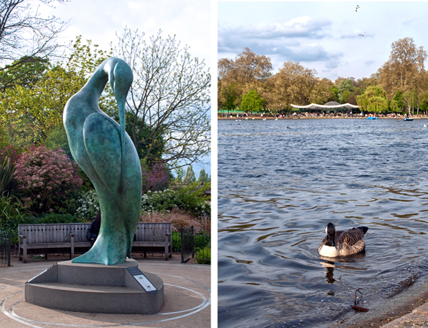 Hyde Park heron statue, London