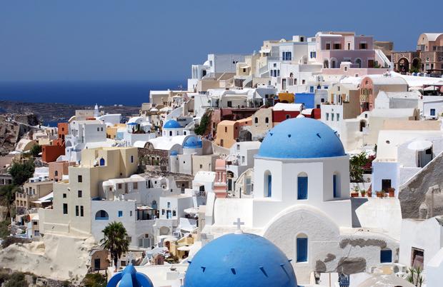 Whitewashed buildings in Santorini, Greece