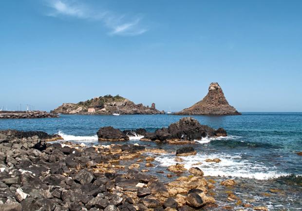 Catania's volcanic coastline, Sicily