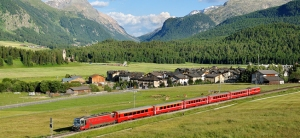 Scenic train journey in Switzerland