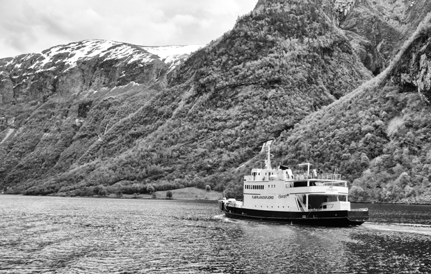 Boat through the Norwegian fjords