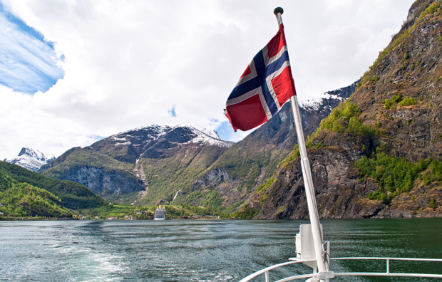 Sailing out of Flam into the Aurlandsfjord, Norway