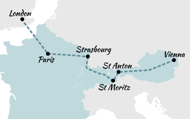 London to Vienna by train