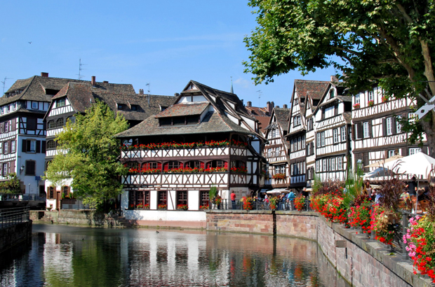 Canals and half-timbered houses in Strasbourg, France