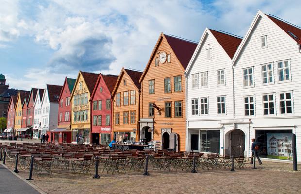 Buildings along the waterfront in Bryggen, Bergen Norway