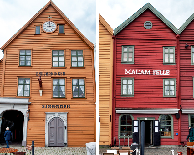 Wooden buildings in Bryggen, Bergen Norway