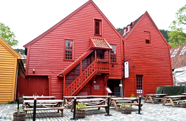 Red buildings in Bryggen, Bergen Norway