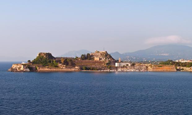Sailing into Corfu Town, Greece