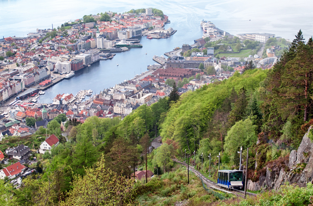 Fløibanen funicular railway, Bergen in Norway