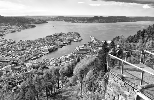 Viewing platform at the top of Mount Fløyen in Bergen, Norway