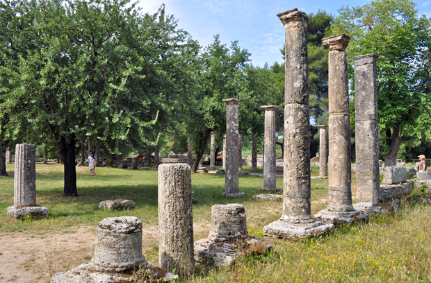 Columns at Olympia archaeological site, Greece