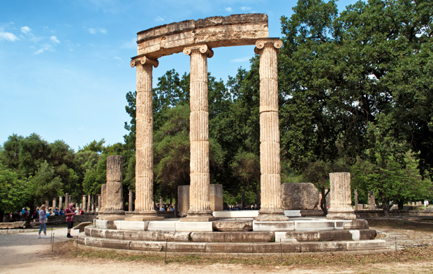 Temple remains at Olympia archaeological site, Greece
