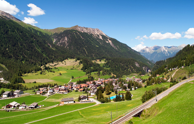 Views between Chur and St Moritz, Switzerland