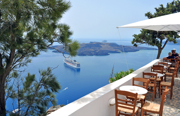 Terrace view in Fira, Santorini, Greece