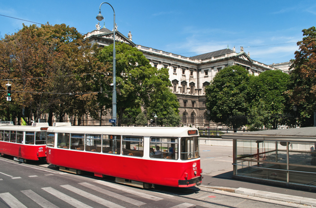 Trams in the centre of Vienna